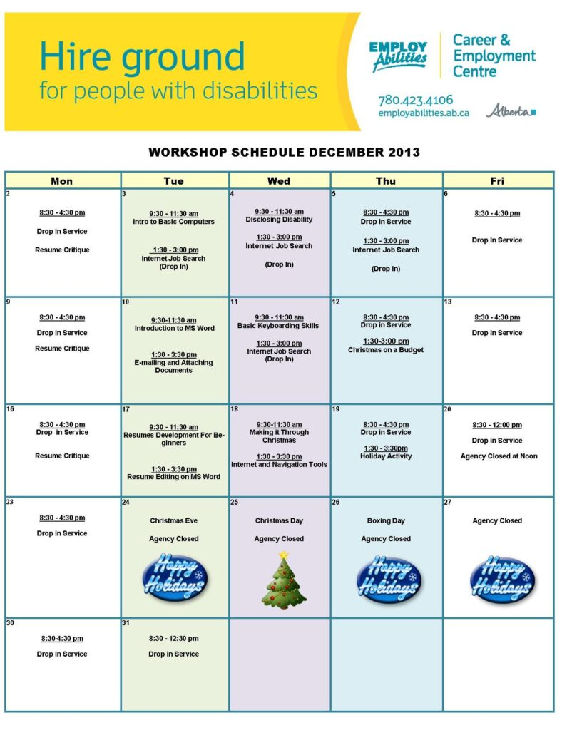 Workshop Schedule December