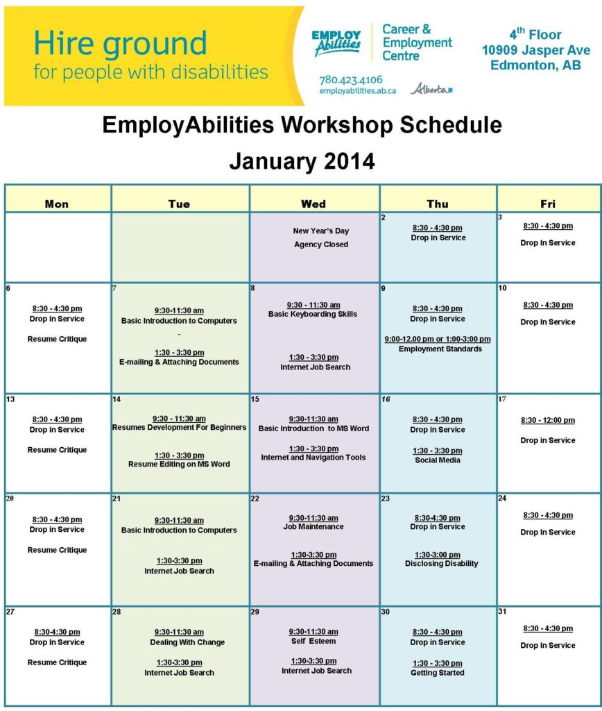 workshop schedule january 2014