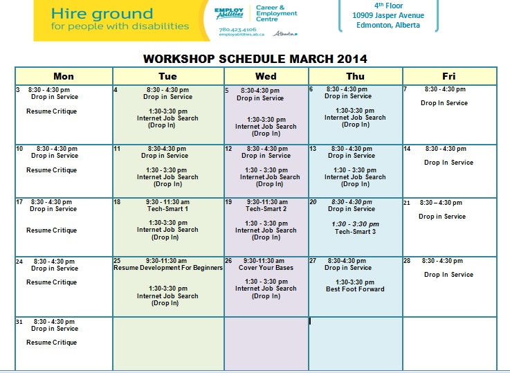 march job skills training workshop schedule