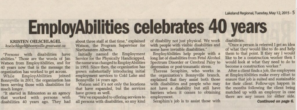 EmployAbilities 40 Years Bonnyville 1